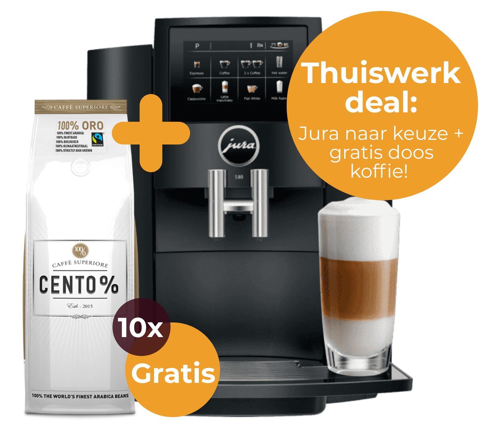 Jura thuiswerk deal   Welke koffie voor thuiswerken? Jura naar keuze + gratis doos Caffe Cento koffiebonen   KoffiePartners
