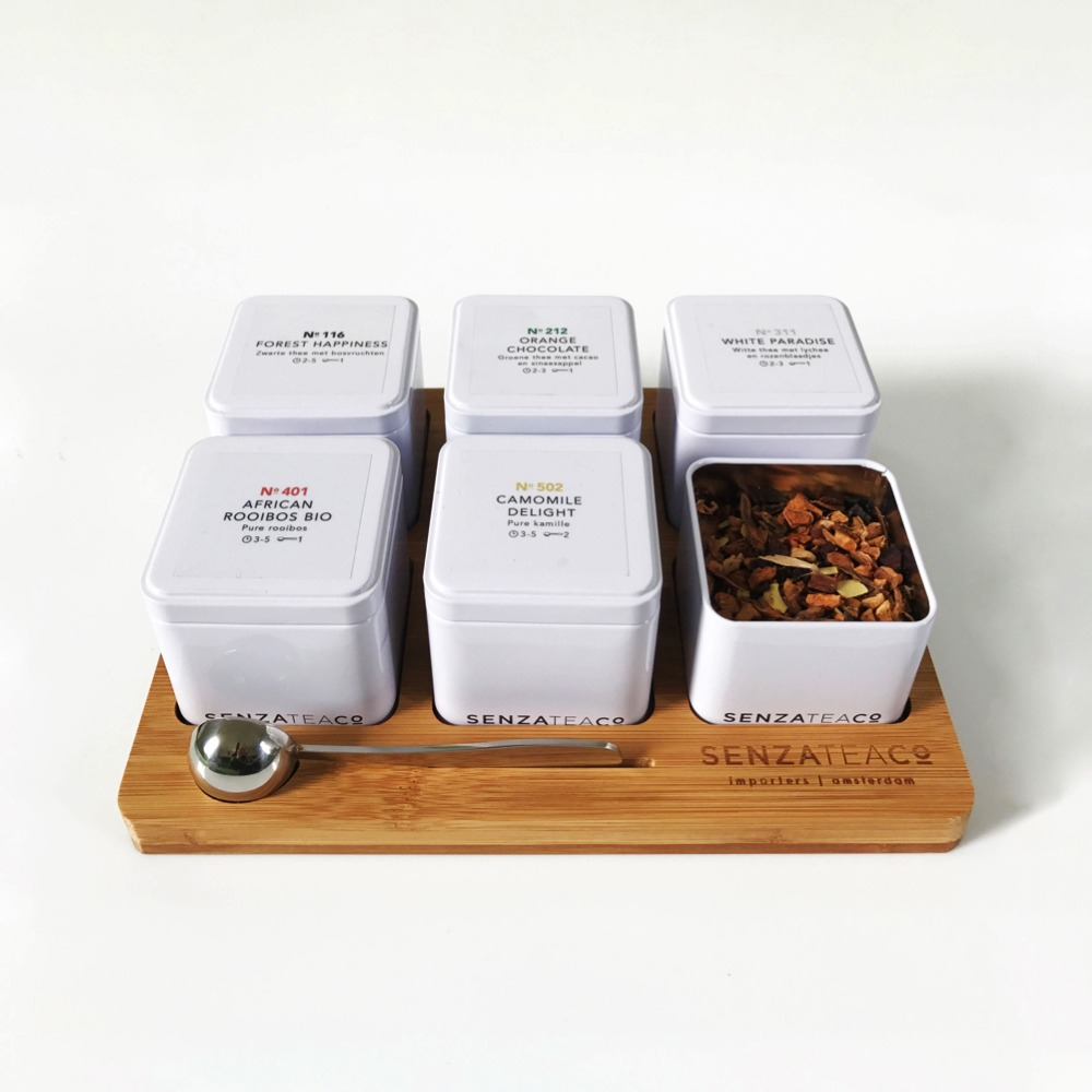 Senza Tea plateau 6 blikjes thee | KoffiePartners